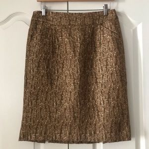 J. Crew Cracked Copper Pencil Skirt Wool Silk 6 S
